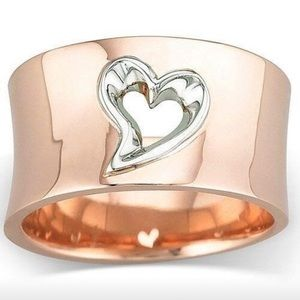 18k Rose Gold over .925 Silver Heart Cut Out Ring